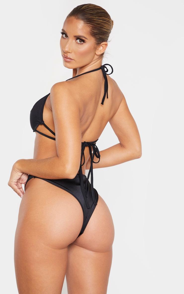 Black Cleavage Wire Detail Bikini Top 3