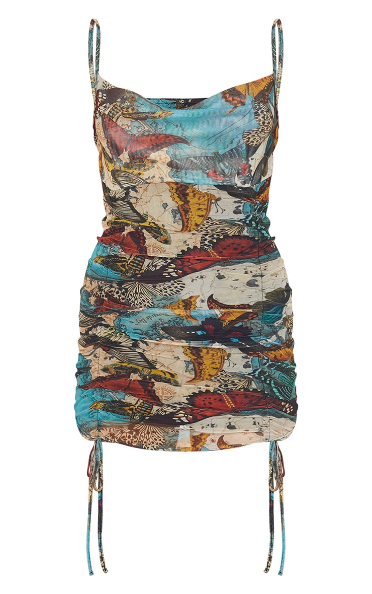 Multi Butterfly Print Strappy Ruched Tie Hem Bodycon Dress 5