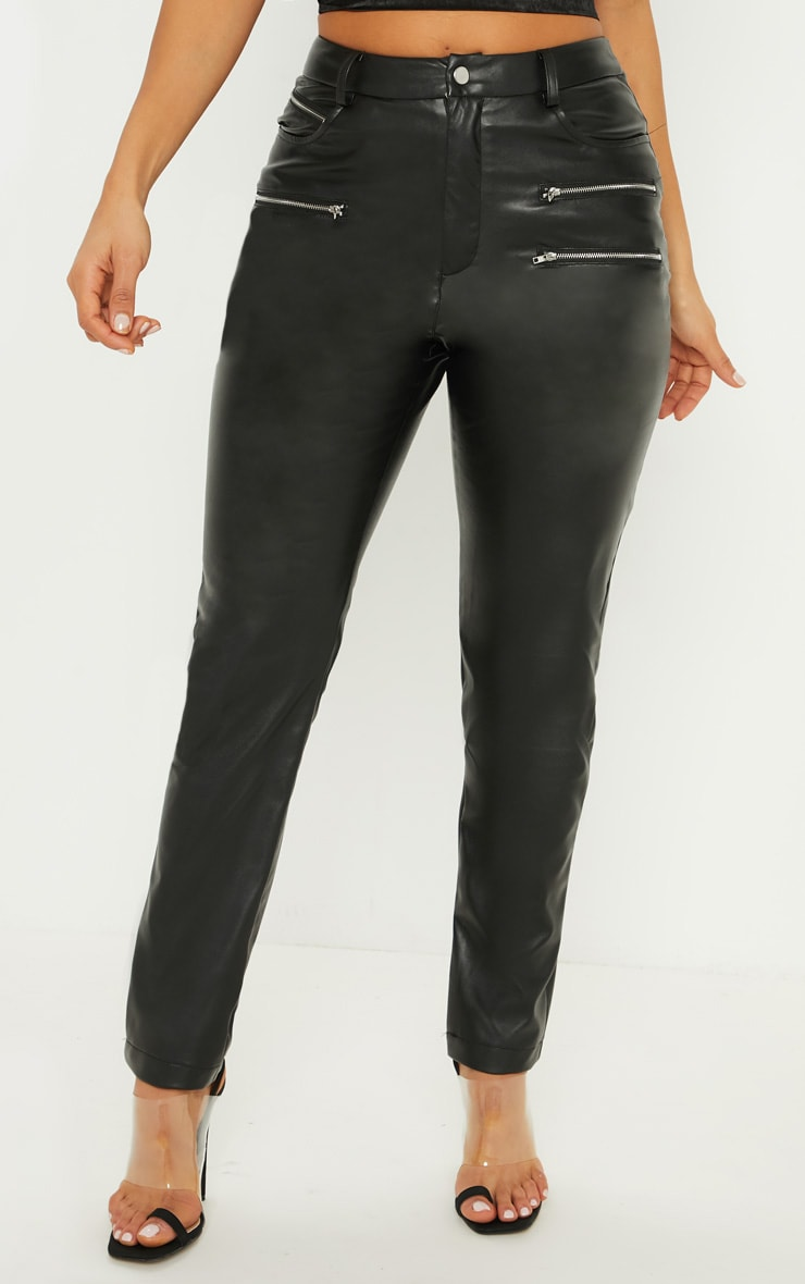 Black Faux Leather Zip Detail Skinny Pants 2