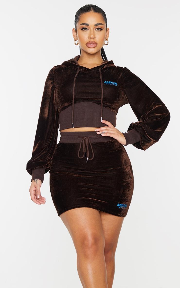 PRETTYLITTLETHING Shape Brown Baby Girl Velour Bodycon Skirt 4