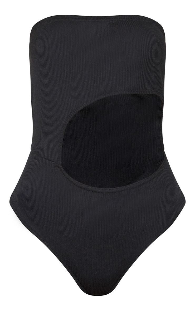 Petite Black Extreme Cut Out Strapless Bodysuit 3