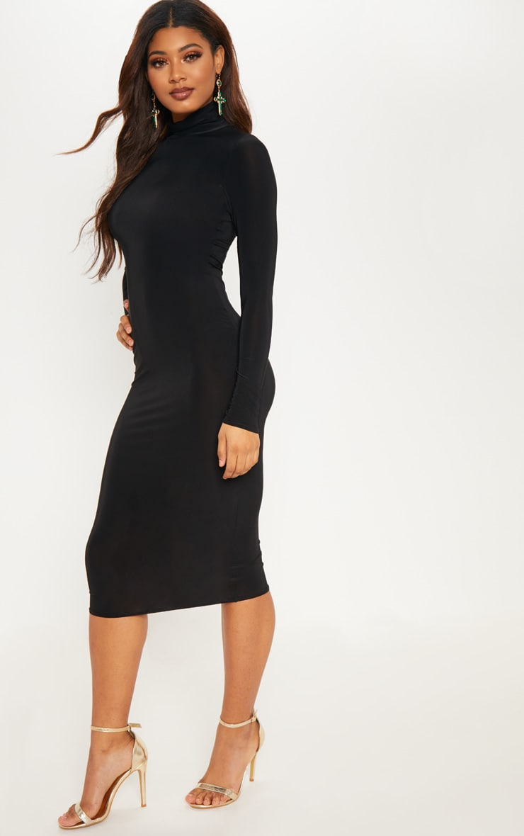 Tall Black High Neck Slinky Midi Dress 4