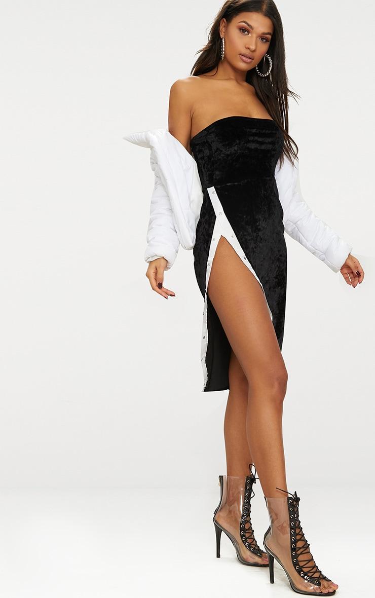 Black Velvet Bandeau Popper Detail Midi Dress  4