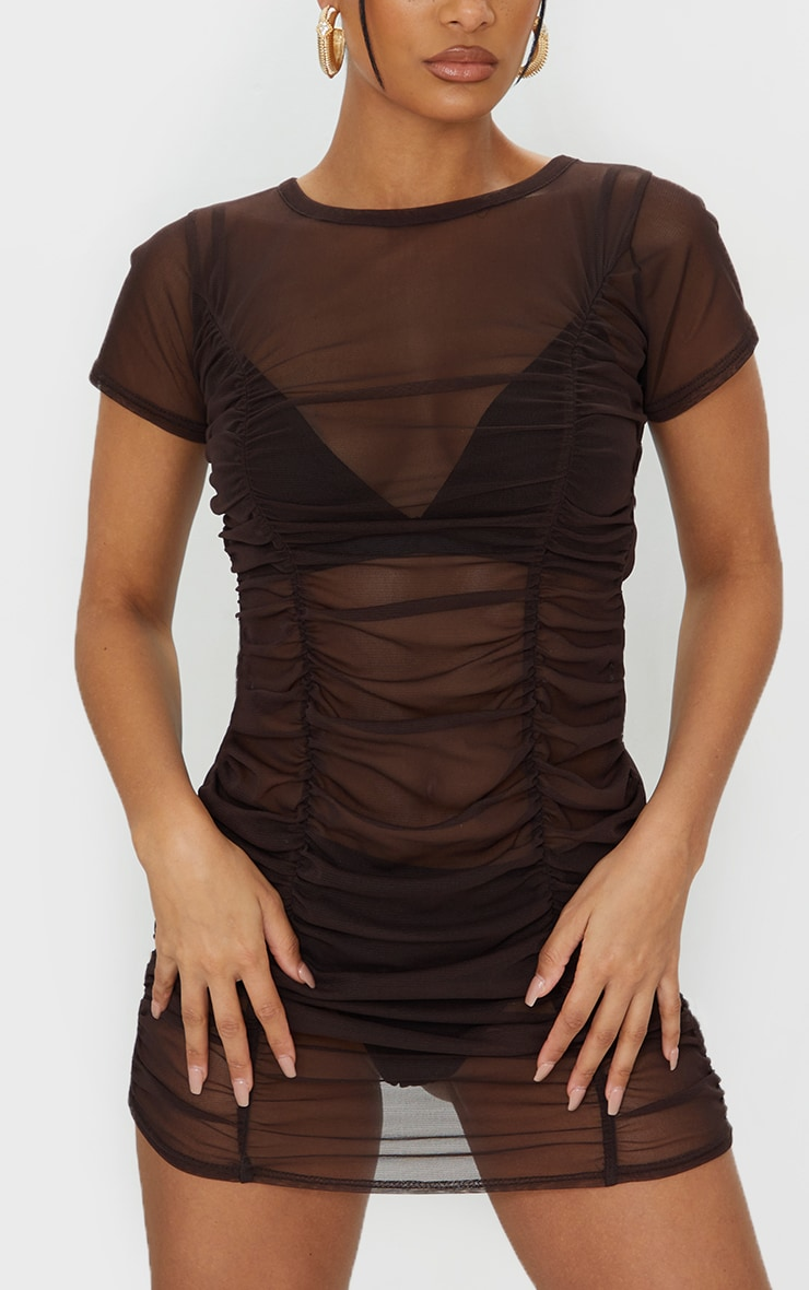 Chocolate Mesh Ruched Short Sleeve Bodycon Dress 4