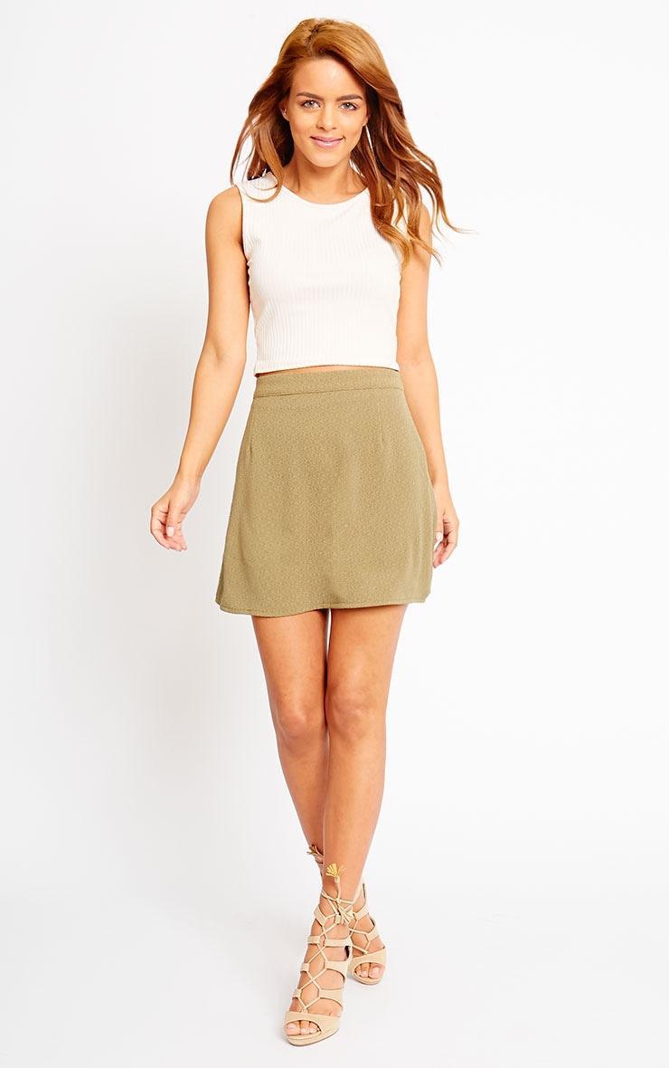 Rori Khaki Crepe A Line Mini Skirt 5