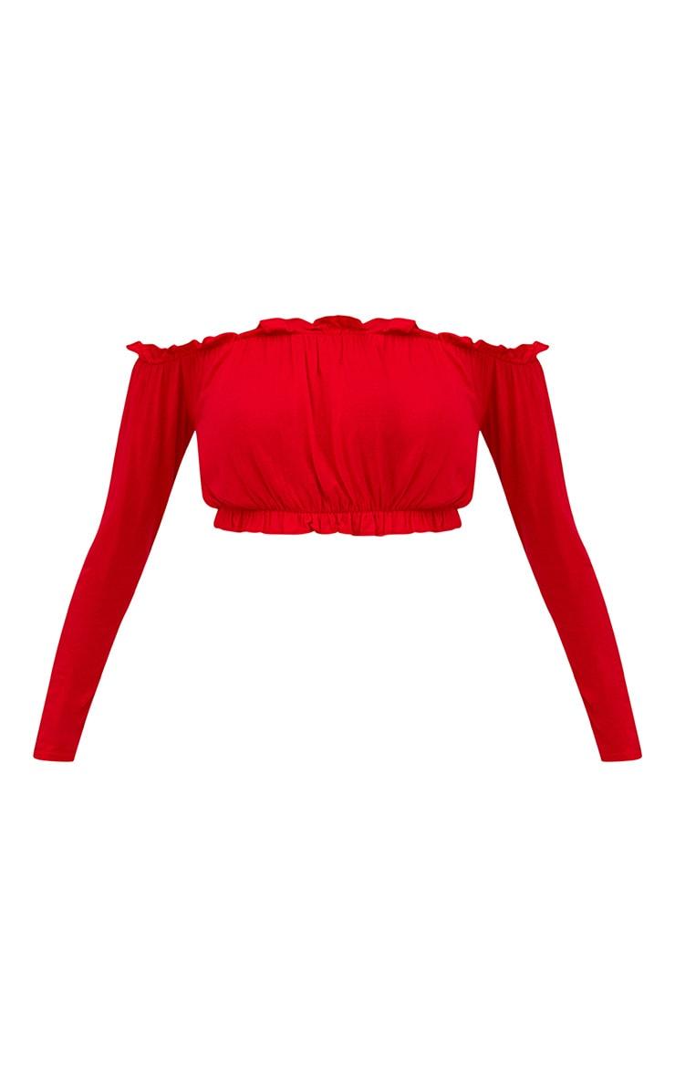 Petite Red Frill Bardot Crop Top 3