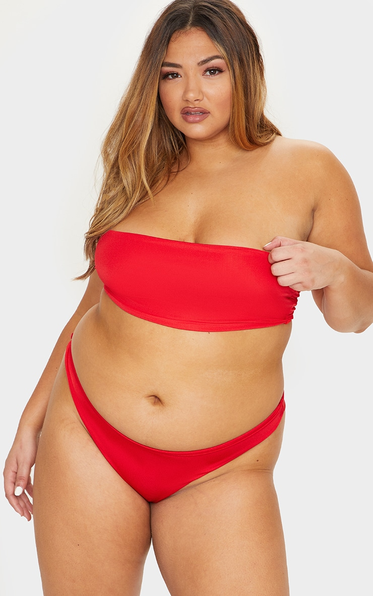 Plus Red Mix & Match Super High Leg Brazilian Bikini Bottom 5