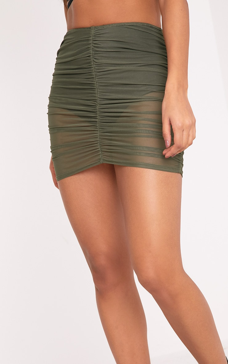Chelle Khaki Ruched Sheer Mini Skirt 6