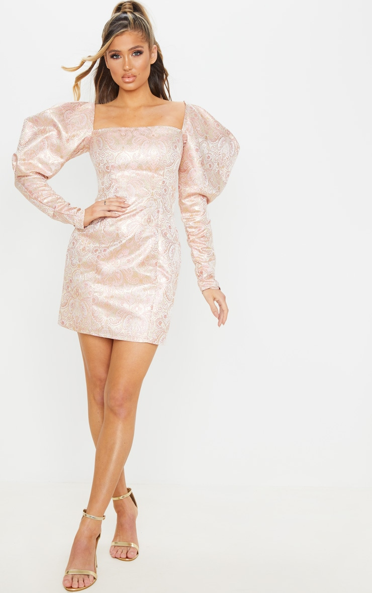 Pale Pink Extreme Puff Sleeve Jacquard Bodycon Dress 1