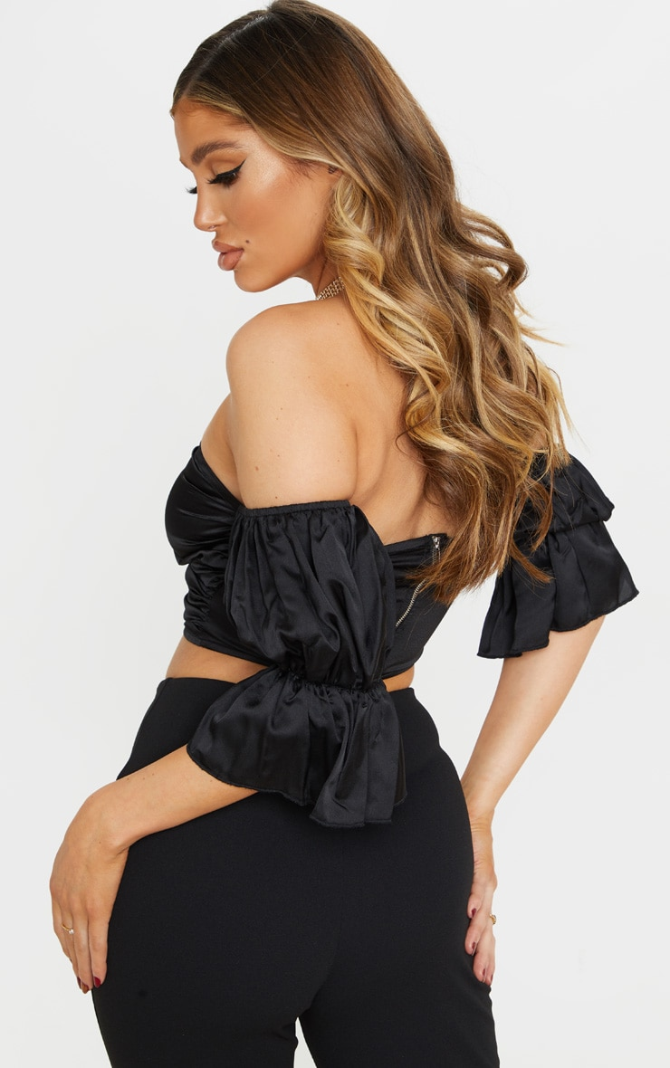Black Satin V Wire Bardot Puff Sleeve Crop Top 2