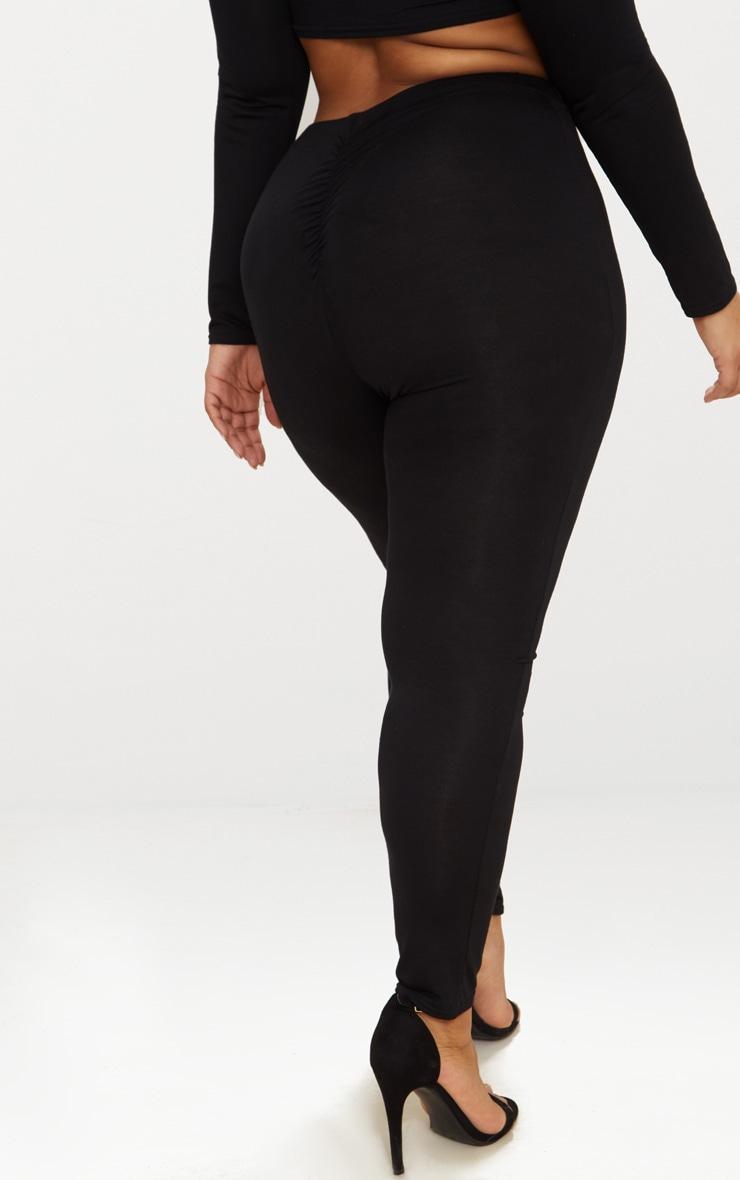 Plus Black Ruched Detail Leggings 4