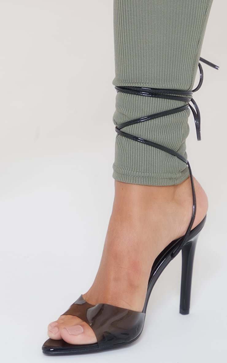 Black Clear Strap Pointed Ankle Tie Heeled Sandals 4