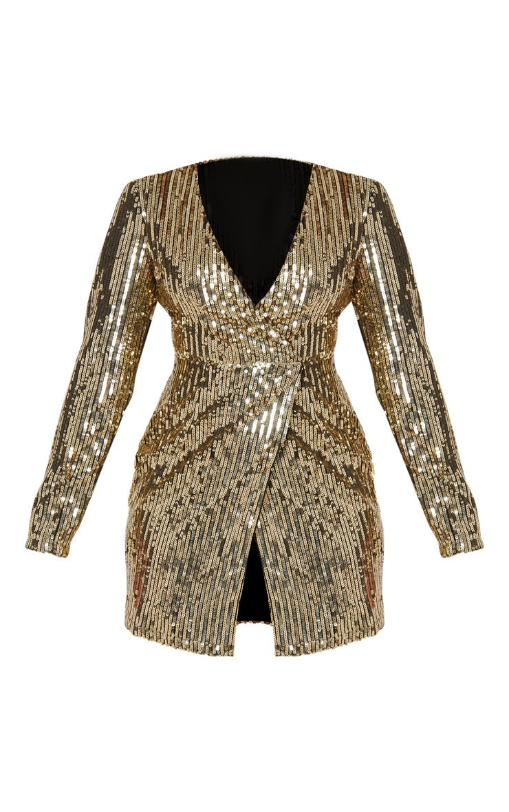 Gold Sequin Plunge Wrap Bodycon Dress 3