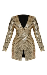 0a429f96 Gold Sequin Plunge Wrap Bodycon Dress | PrettyLittleThing USA
