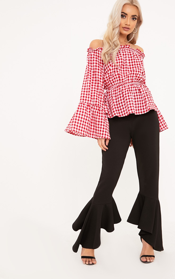 Nellie Red Gingham Check Bardot Top  4