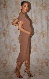 Recycled Maternity Chocolate Contour Jersey Short Sleeve Midi Dress 2