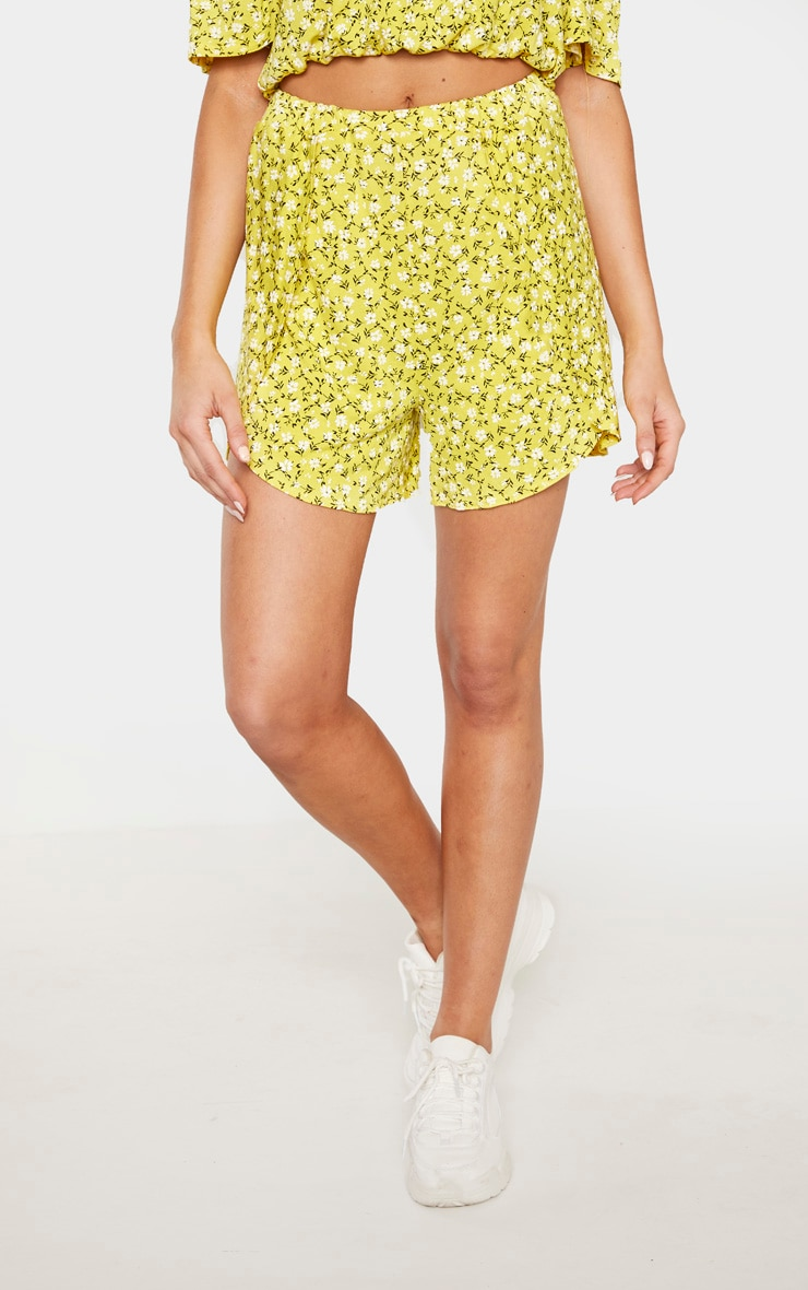 Tall Yellow Ditsy Floral Print Floaty Short 2