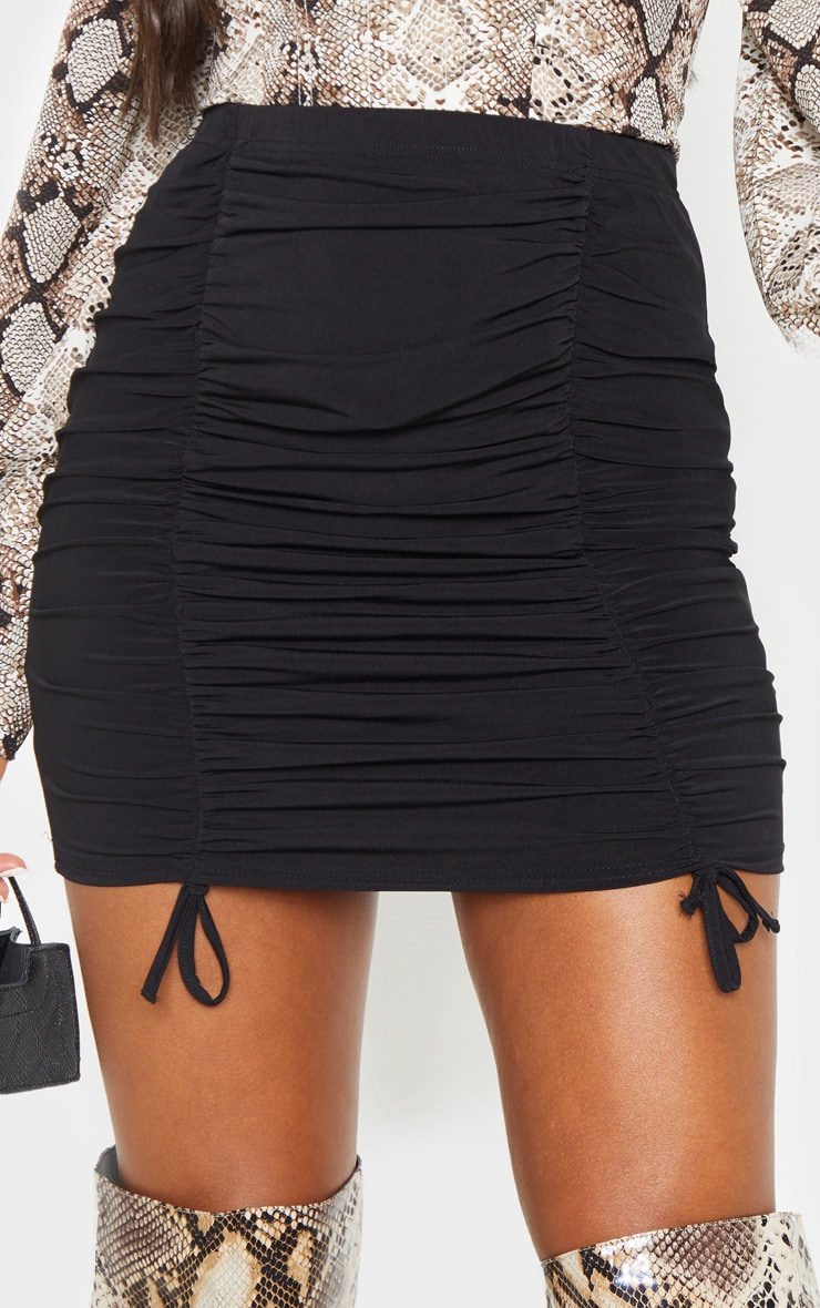Black Ruched Front Mini Skirt  6