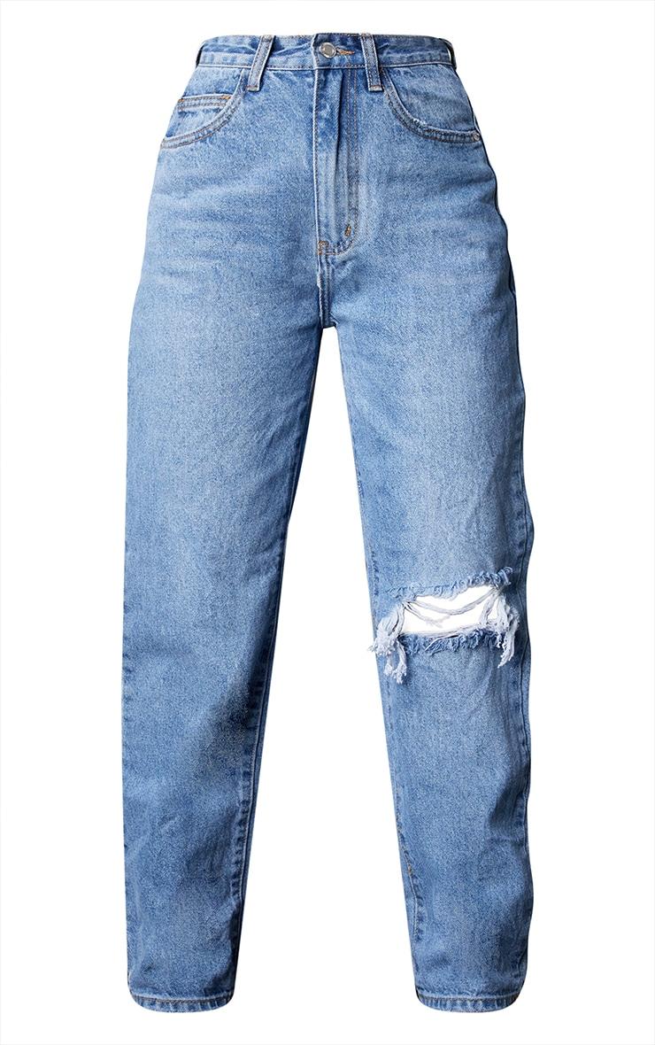 Petite Light Blue Wash Open Knee Leg Straight Jean 5