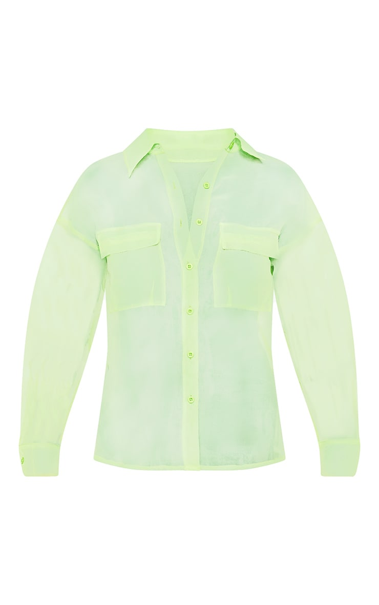 Lime Organza Pocket Detail Oversized Shirt 3