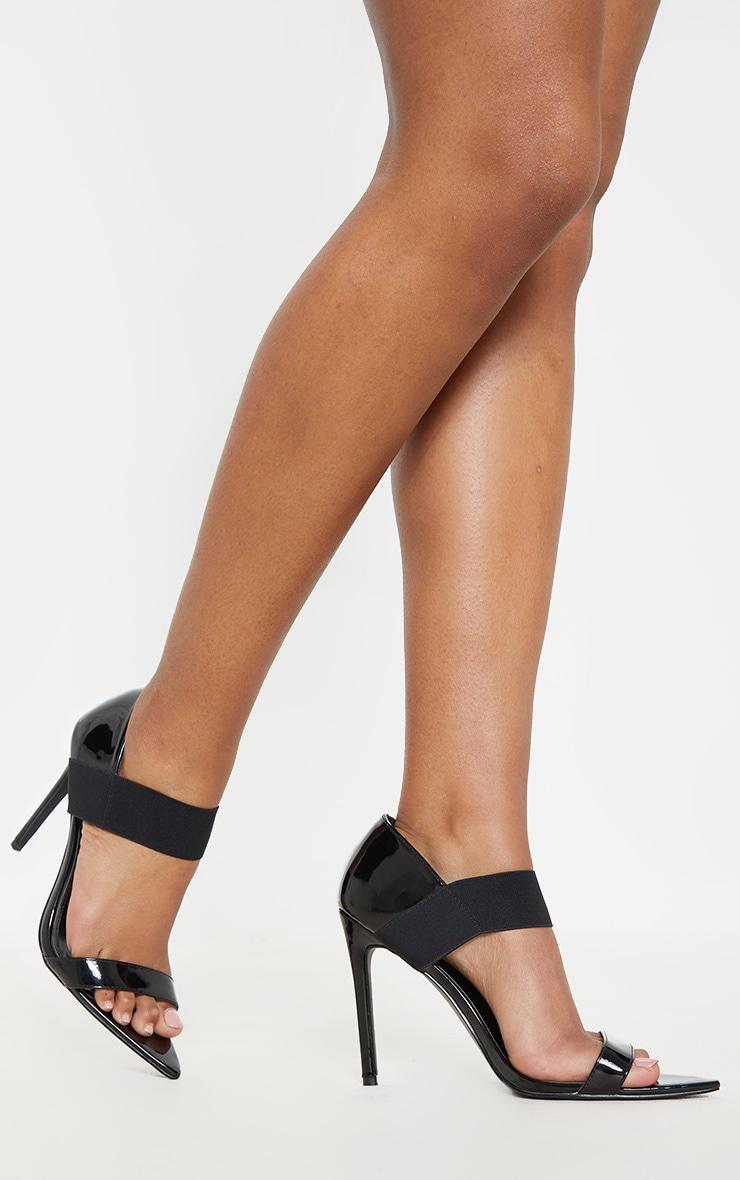 Black Patent Point Toe Elastic Sandal 1