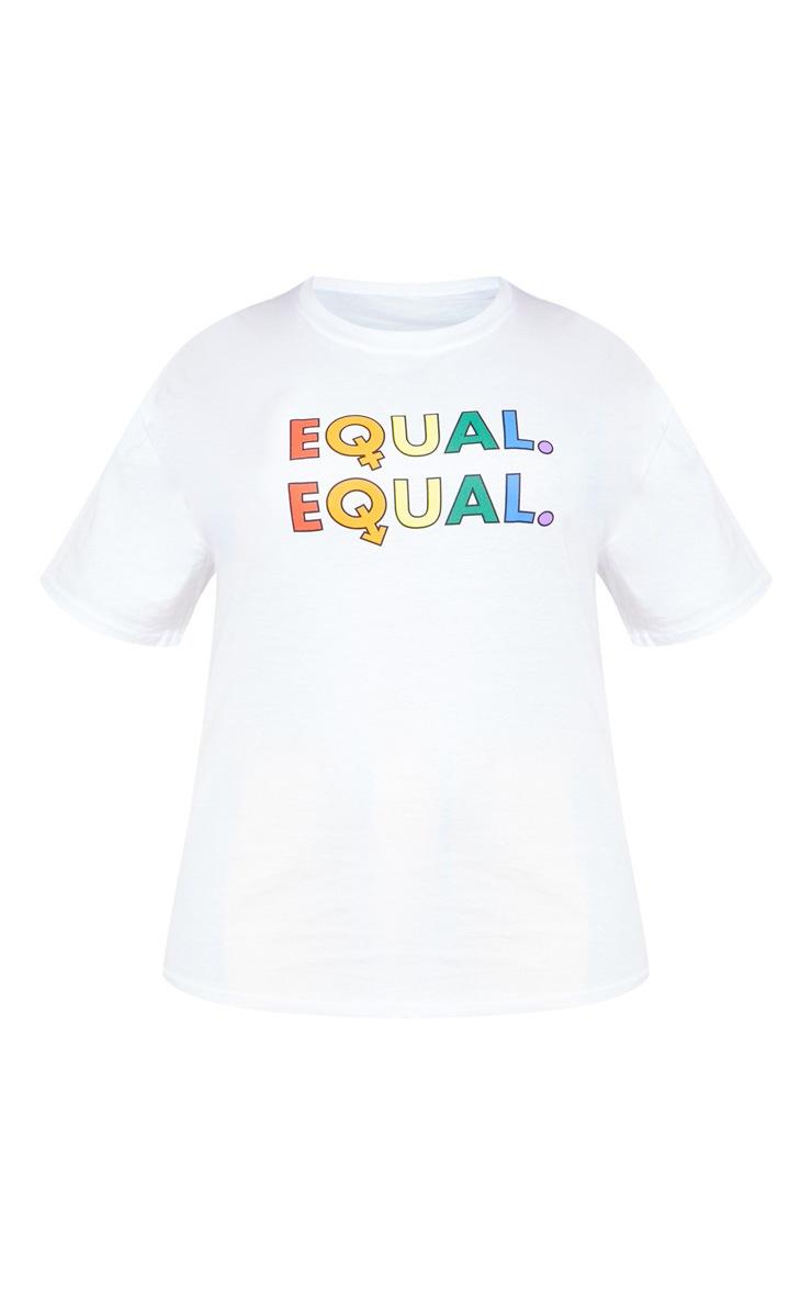 Plus White EQUAL Oversized  T-shirt  3