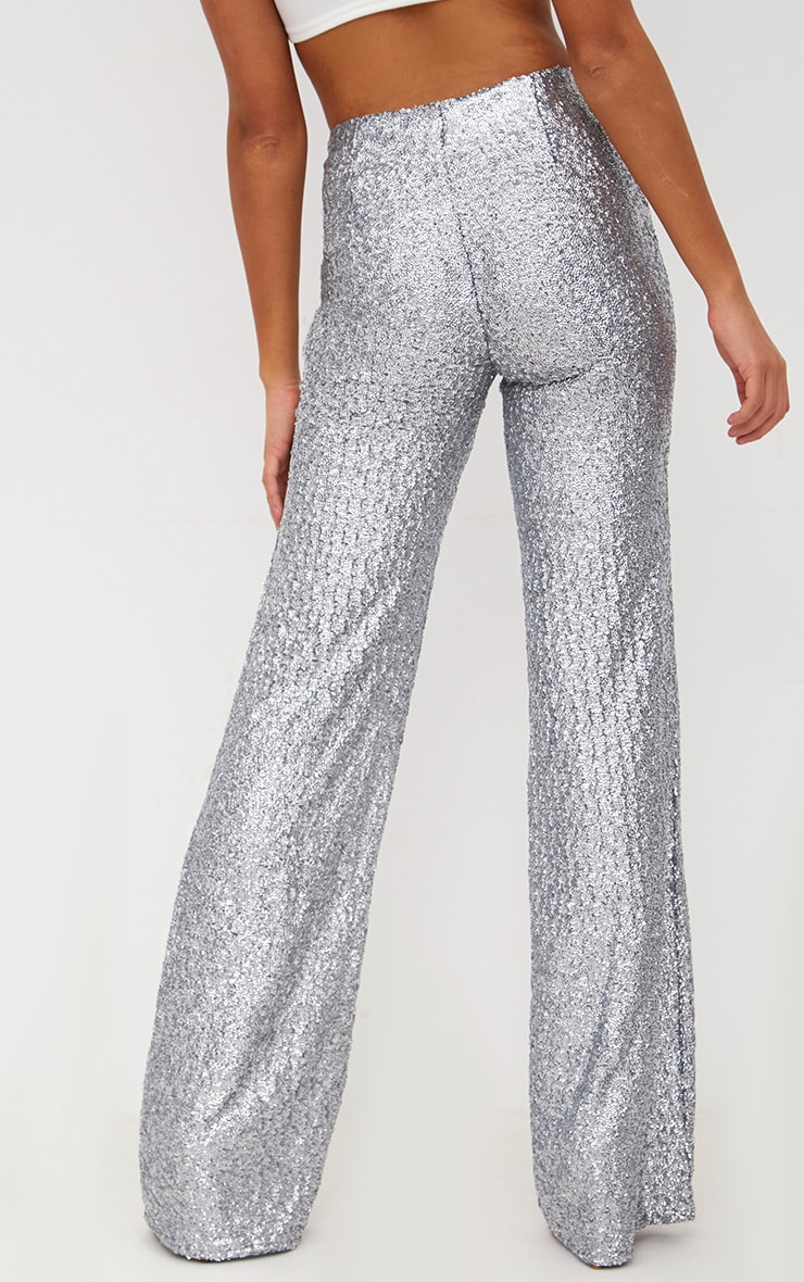 Silver Sequin Wide Leg Pants 4