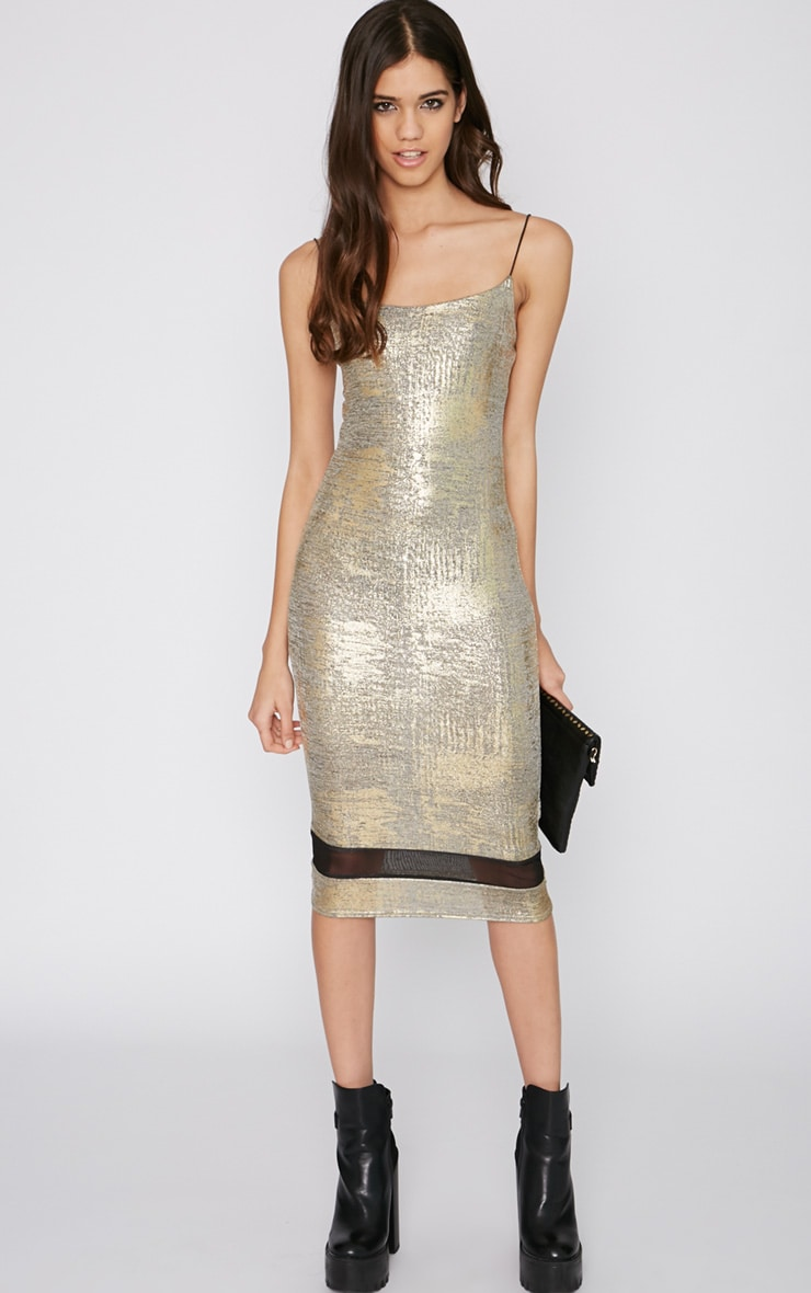 Rayne Gold Foil Mesh Insert Midi Dress 1