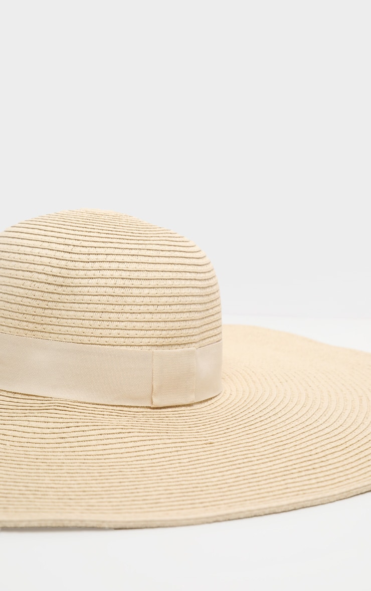 Natural Large Ribbon Detail Sun Hat 3