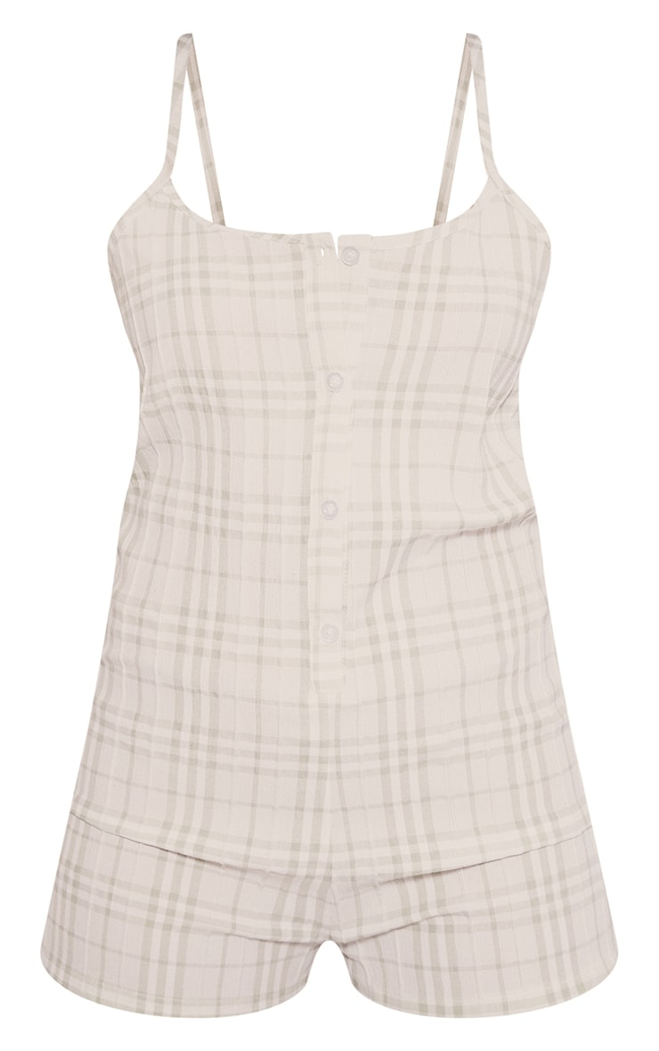 Sage Green Gingham Cotton Button Up Romper 5