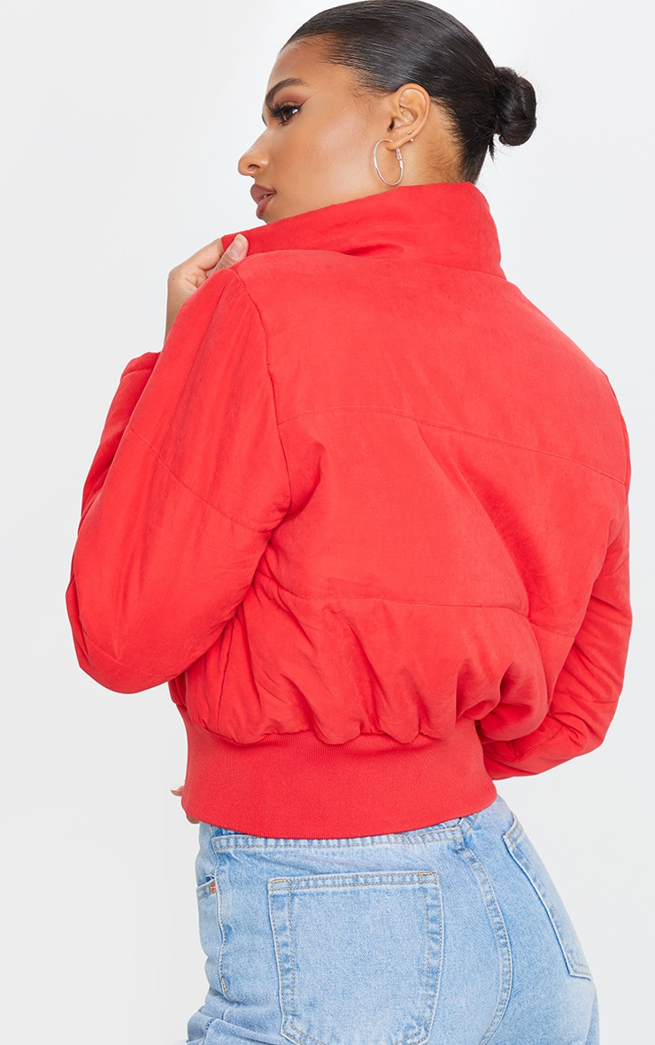 Red Peach Skin Cropped Puffer Jacket 2