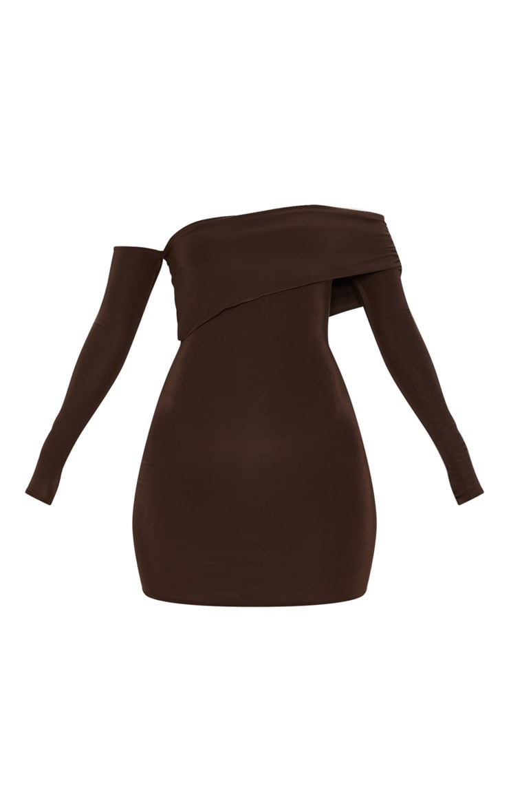 Chocolate Brown Slinky Fold Over Bodycon Dress 3