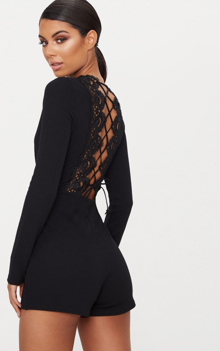 Black Lace Up Back Detail Romper 1