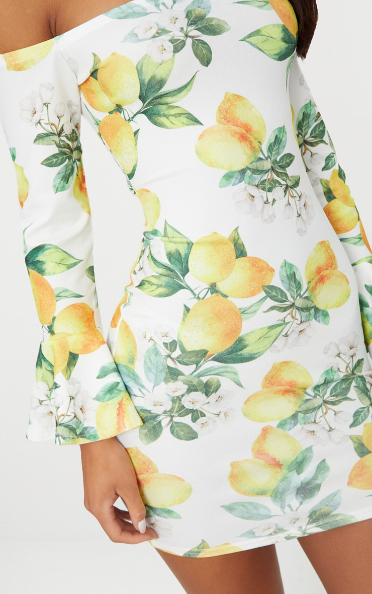White Lemon Print Bardot Flared Sleeve Bodycon Dress 5