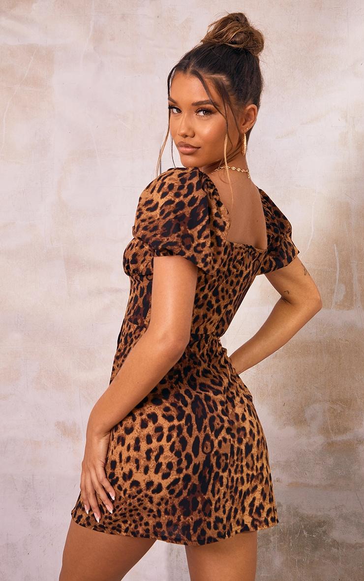 Brown  Leopard Print Bust Detail Cut Out Shift Dress 2