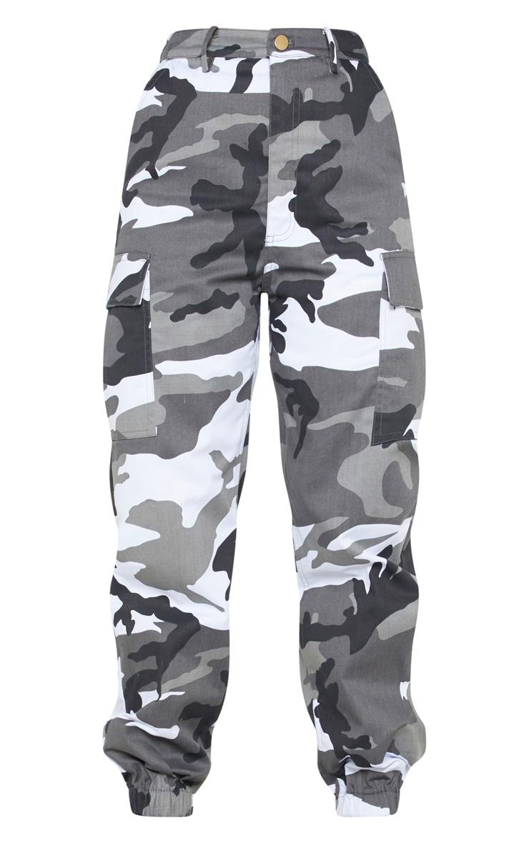 Petite Grey Camo Printed Cargo Pants 3