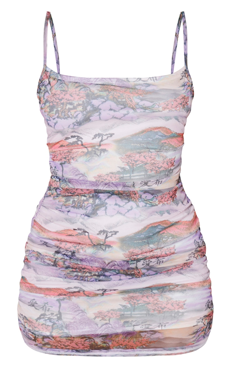 Lilac Mixed Print Mesh Ruched Strappy Bodycon Dress 3