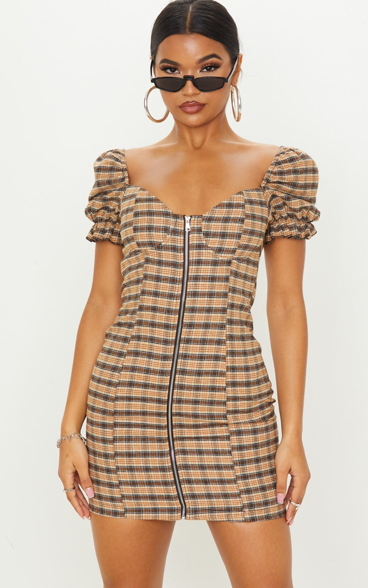 Beige Check Puff Sleeve Zip Front Shift Dress 1