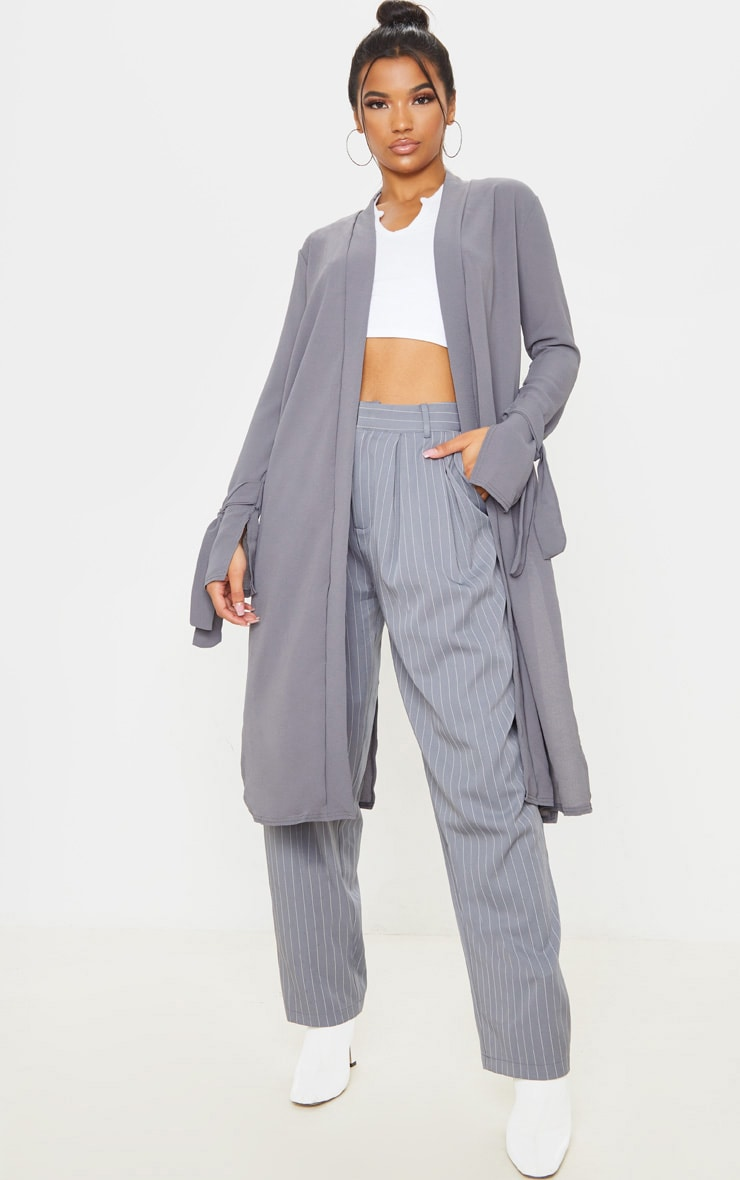 Aba Grey Sleeve Tie Detail Duster Jacket 1
