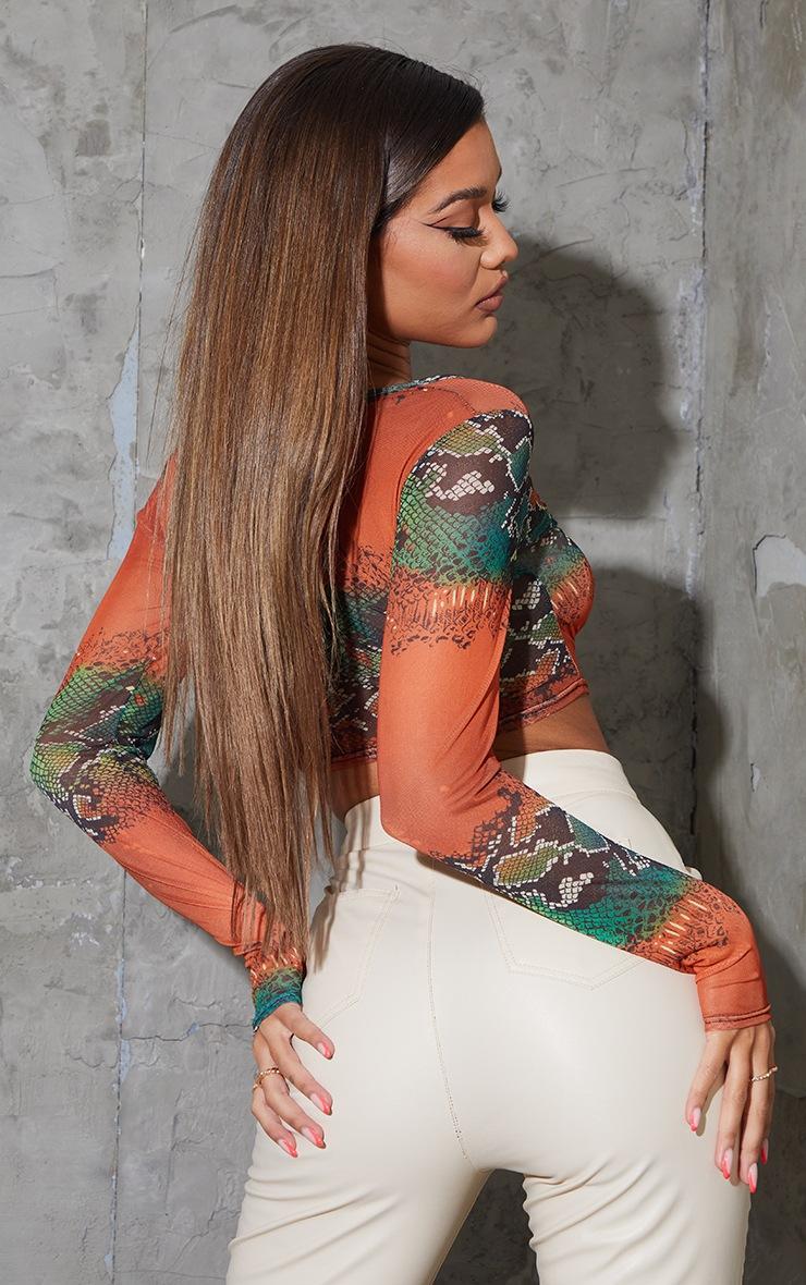 Orange Mesh Snake Print Ruched Front Long Sleeve Crop Top 2