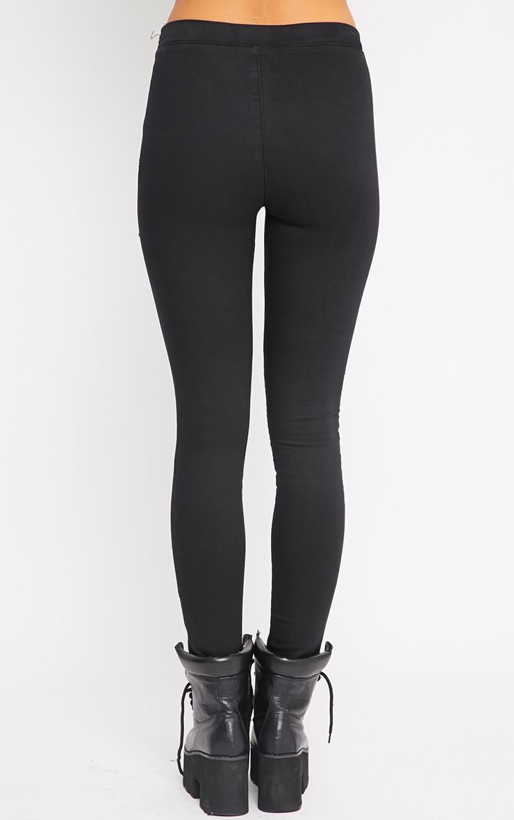 Emory Black Zip Up Biker Jeans 2