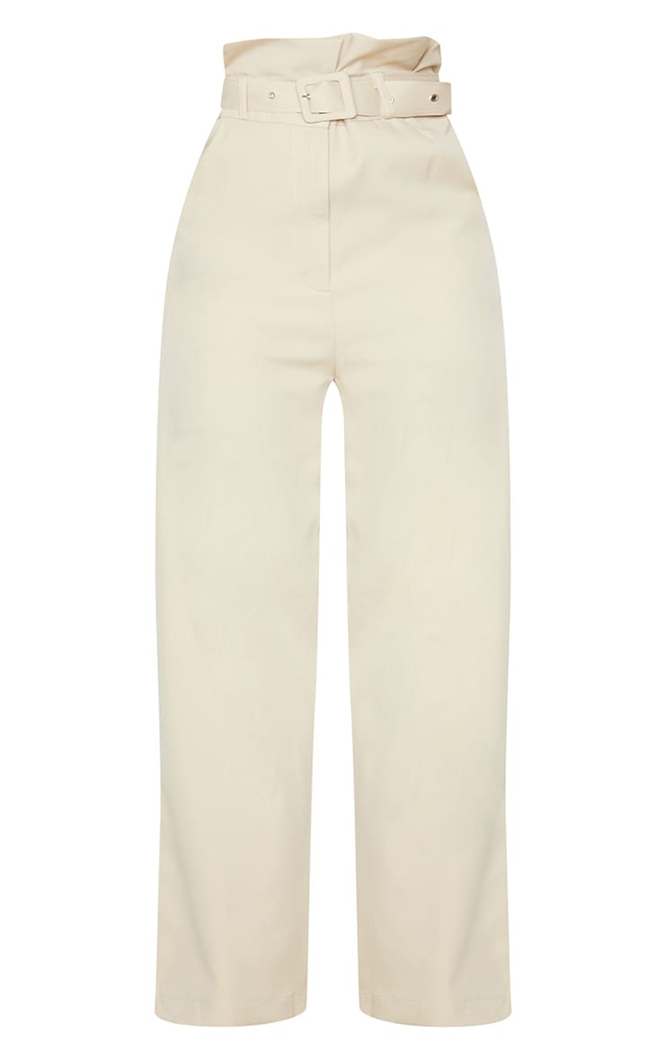 Petite Stone Extreme Satin Paper Bag Wide Leg Trousers 5