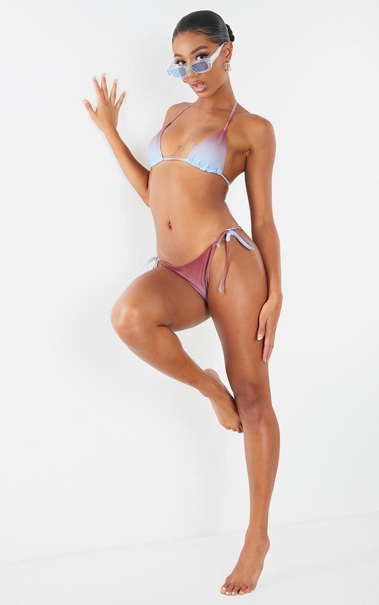 Brown Ombre Print Padded Bikini Top 1
