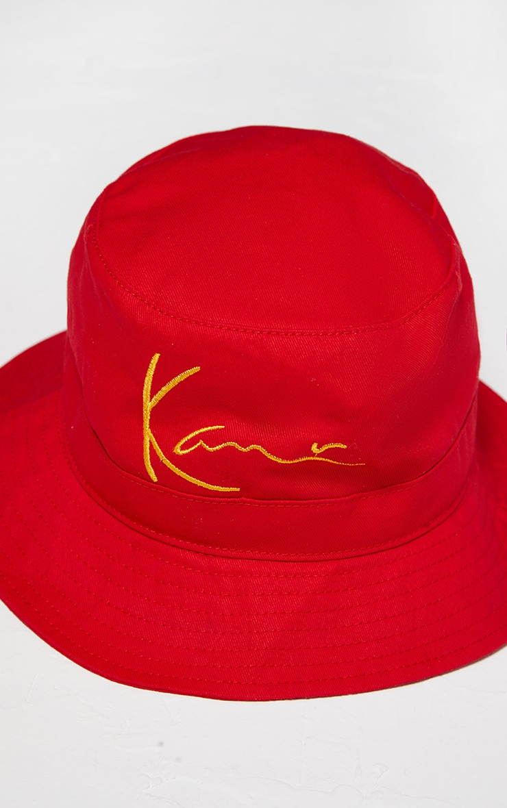 KARL KANI Red Embroidered Bucket Hat 4