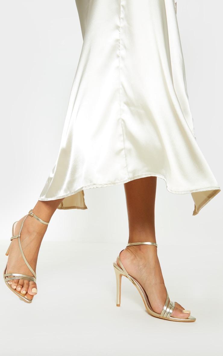 Gold Asymmetric Strappy Sandal 1
