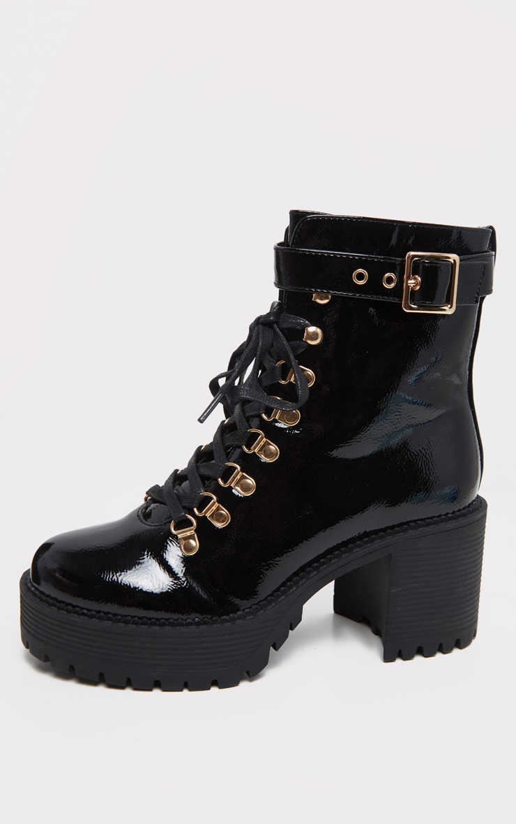 Black Ankle Buckle Cleated Sole Boot 4