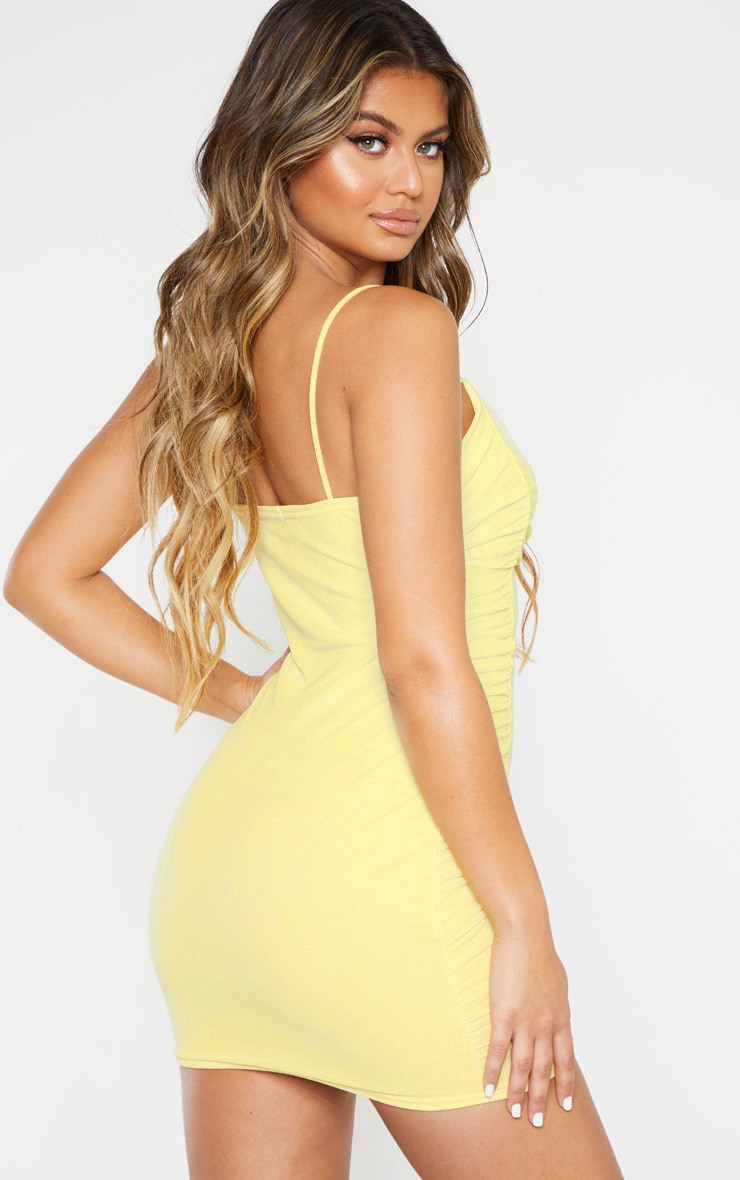 Yellow Strappy Mesh Ruched Side Bodycon Dress 2