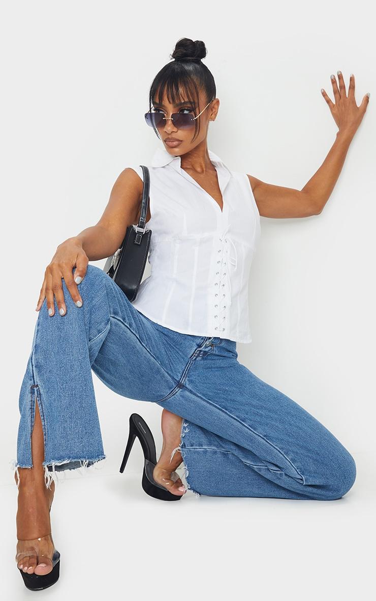 White Woven Binding Detail Front Sleeveless Shirt 1