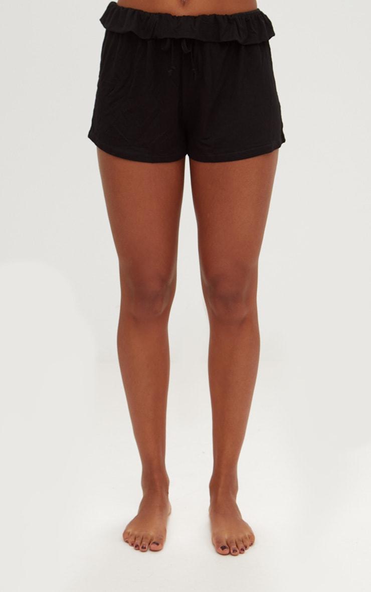Black Ruffle Edge Drawstring Shorts 2