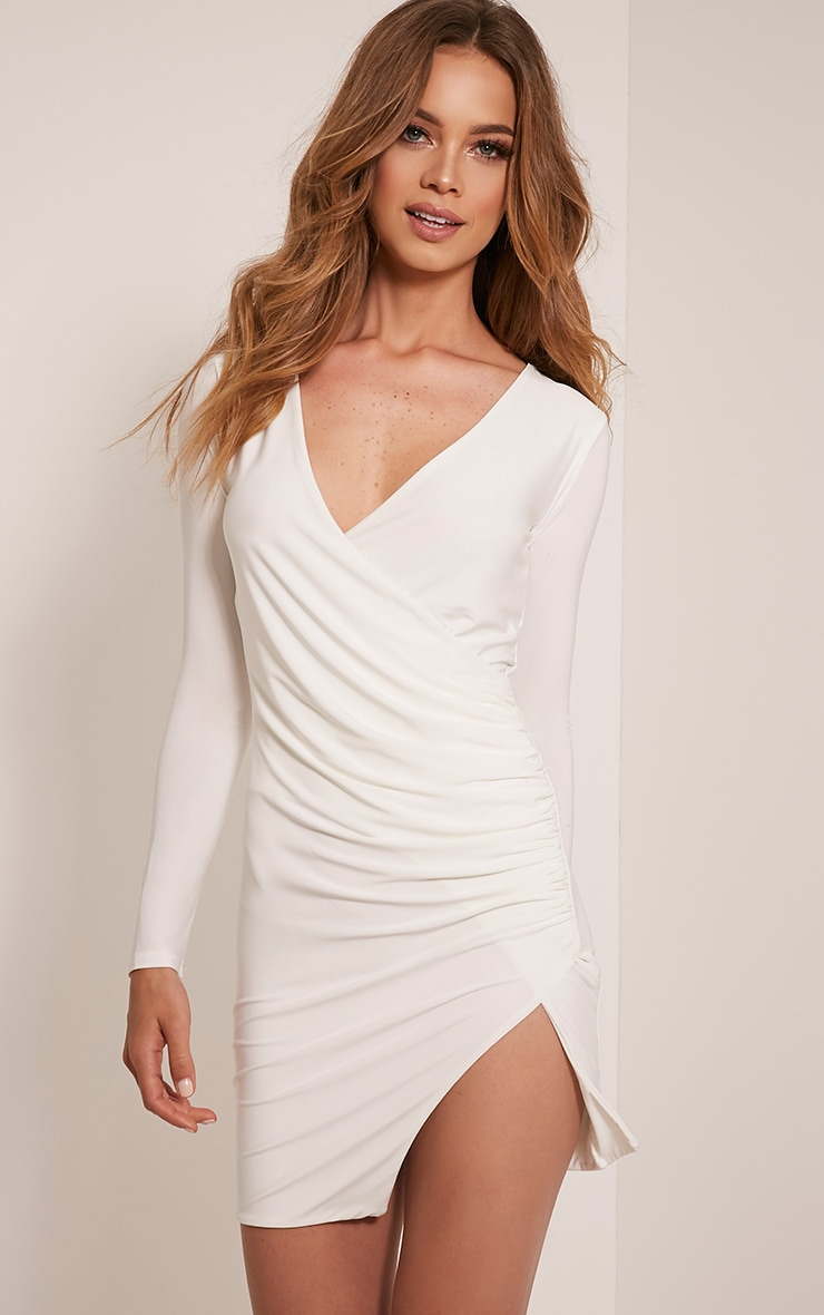Iona Cream Slinky Wrap Over Bodycon Dress 1